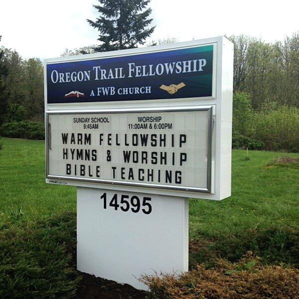 Church Sign for Oregon Trail Free Will Baptist Church