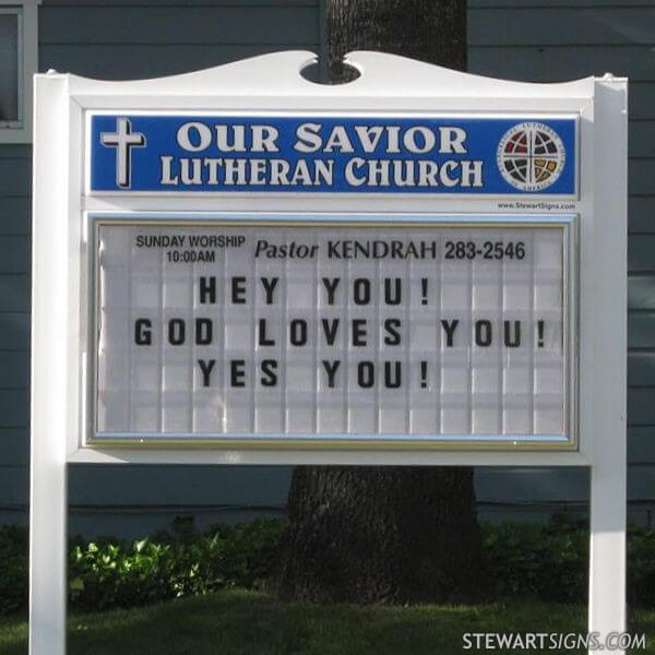 Church Sign for Our Savior Lutheran Church