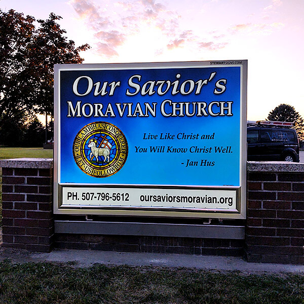 Church Sign for Our Savior's Moravian Church