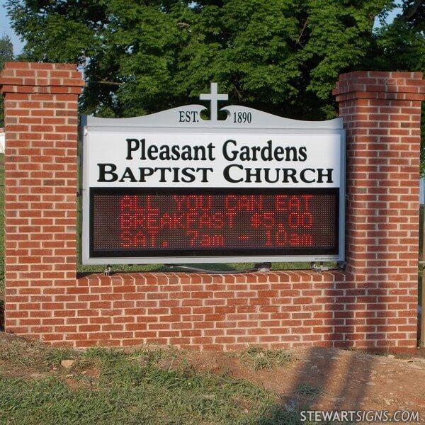 Church Sign for Pleasant Gardens Baptist Church