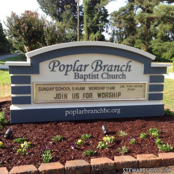 Church Sign for Poplar Branch Baptist Church