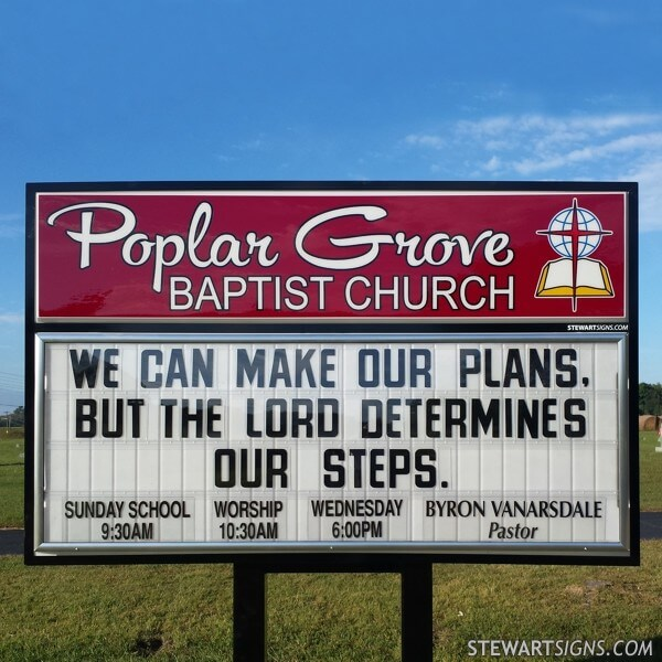 Church Sign for Poplar Grove Baptist Church