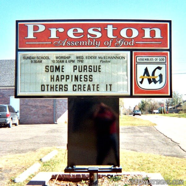 Church Sign for Preston Assembly Of God