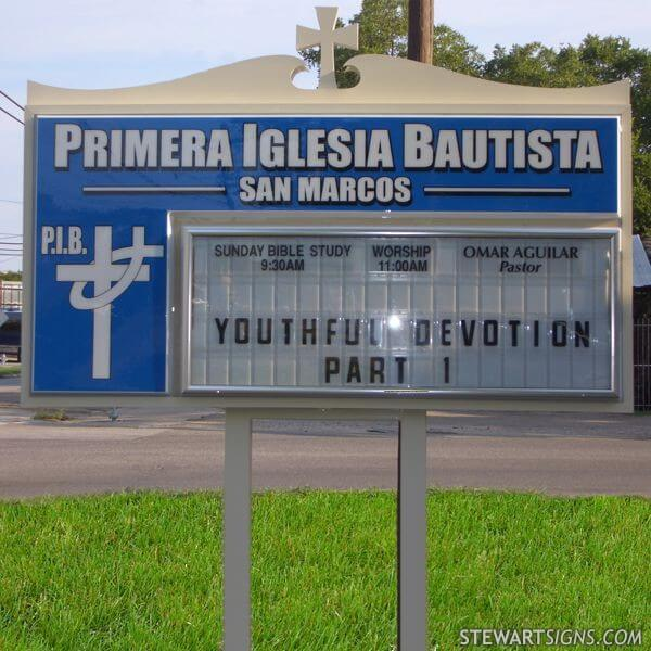 Church Sign for Primera Iglesia Bautista San Marcos