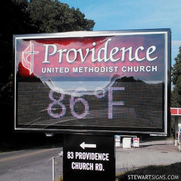 Church Sign for Providence United Methodist Church