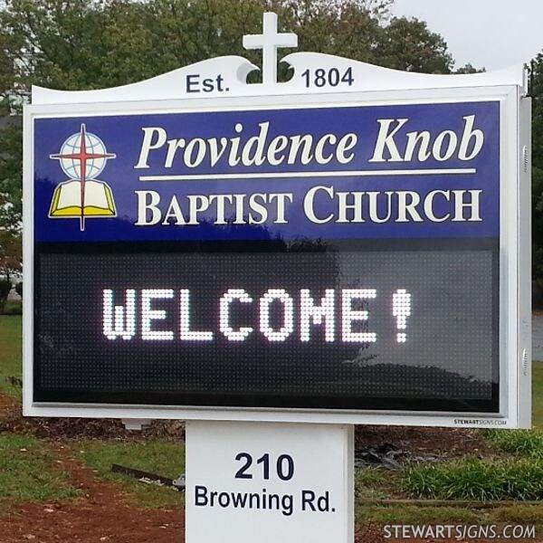 Church Sign for Providence Knob Baptist Church