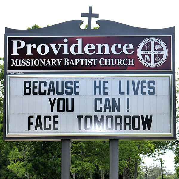 Church Sign for Providence Missionary Baptist Church