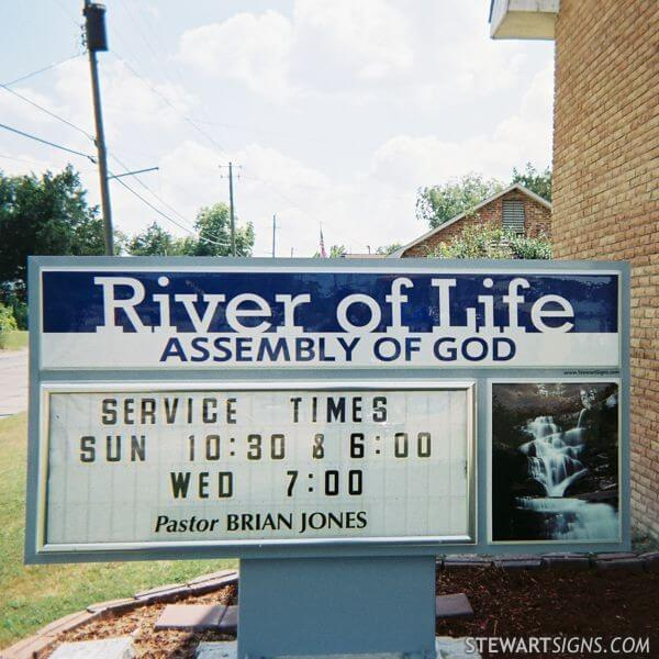 Church Sign for River Of Life Assembly Of God