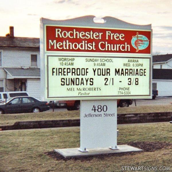 Church Sign for Rochester Free Methodist Church