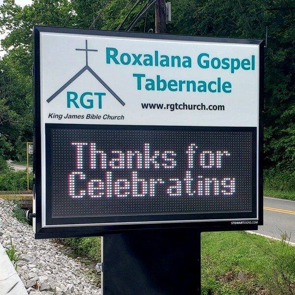Church Sign for Roxalana Gospel Tabernacle