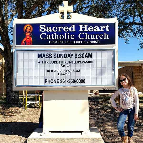 Church Sign for Sacred Heart Catholic Church