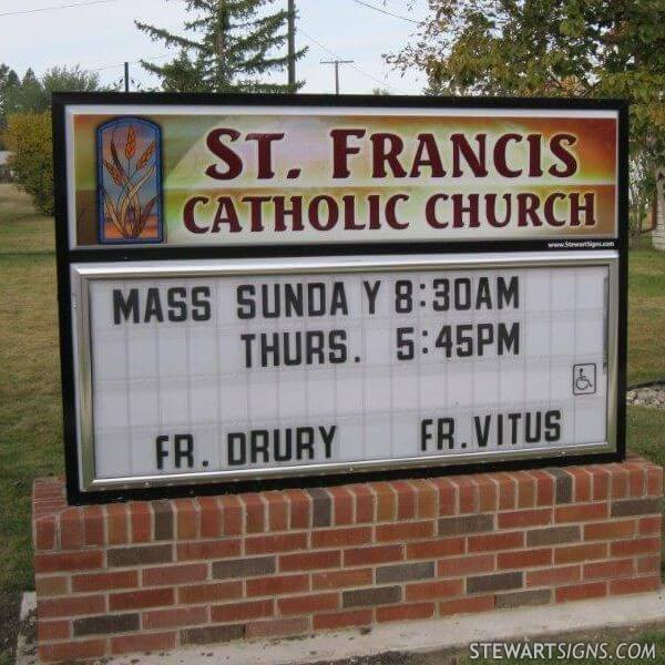 Church Sign for St. Francis Catholic Church