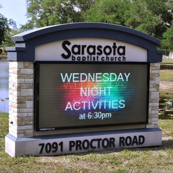Church Sign for Sarasota Baptist Church