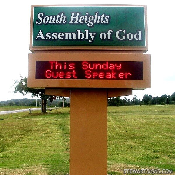 Church Sign for South Heights Assembly Of God