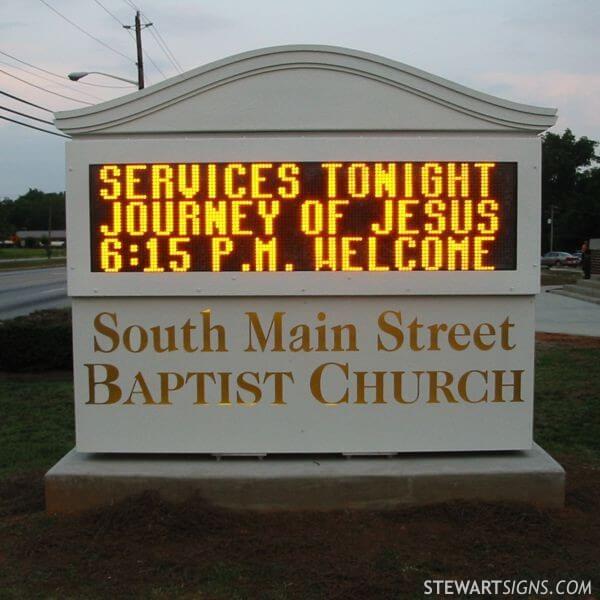 Church Sign for South Main Street Baptist Church