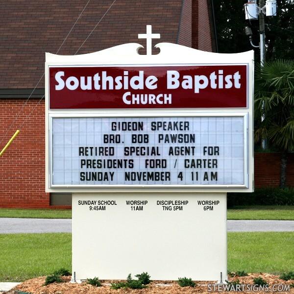 Church Sign for Southside Baptist Church