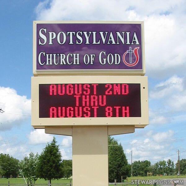 Church Sign for Spotsylvania Church Of God