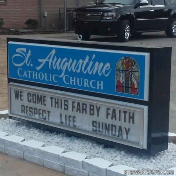 Church Sign for St Augustine Catholic  Church