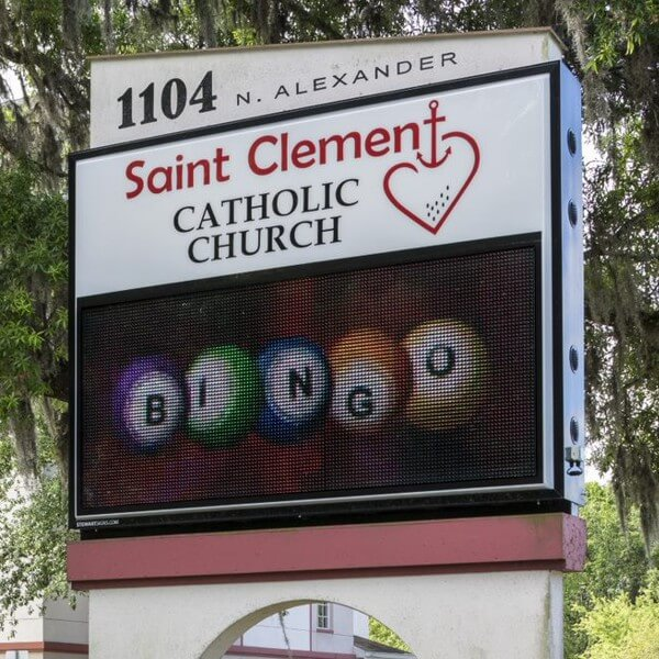 Church Sign for St Clement Catholic Church