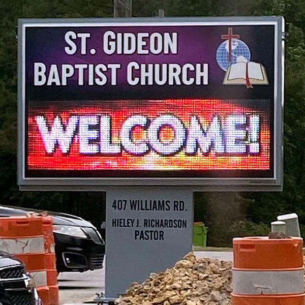 Church Sign for St. Gideon Baptist Church