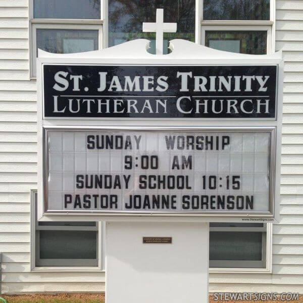 Church Sign for St. James Trinity Lutheran Church