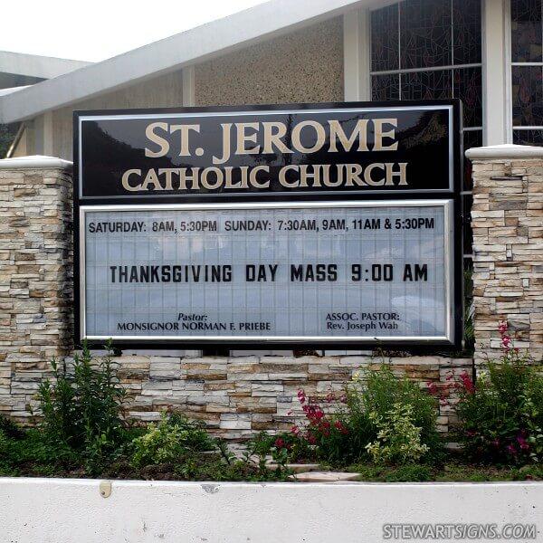 Church Sign for Saint Jerome Catholic Church