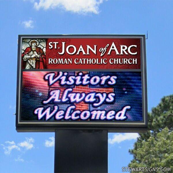 Church Sign for St. Joan Of Arc Roman Catholic Church