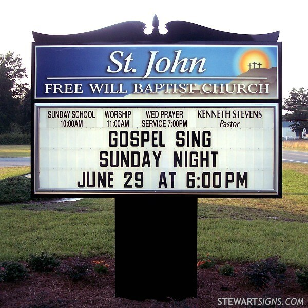 Church Sign for Saint John Free Will Baptist Church