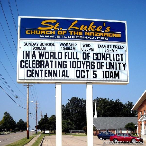 Church Sign for Saint Luke's Church Of The Nazarene