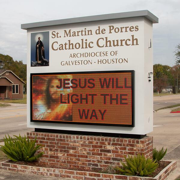 Church Sign for St. Martin Deporres Catholic Church