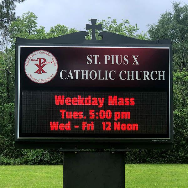 Church Sign for St. Pius X Catholic Church