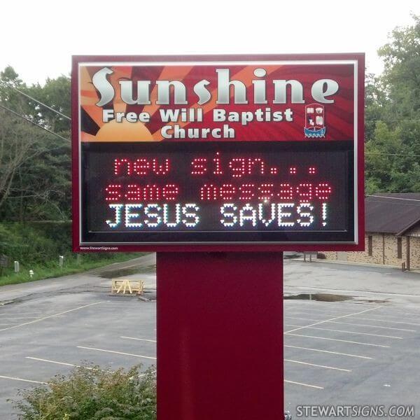 Church Sign for Sunshine Free Will Baptist Church