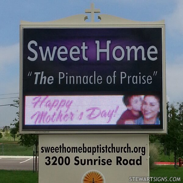 Church Sign for Sweet Home Baptist Church