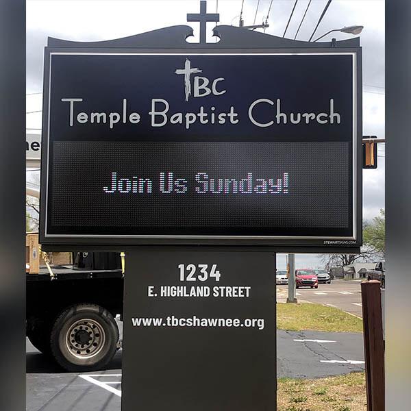 Church Sign for Temple Baptist Church