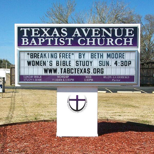 Church Sign for Texas Avenue Baptist Church
