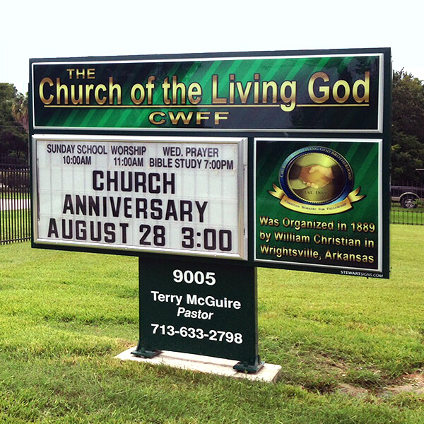 Church Sign for The Church Of The Living God