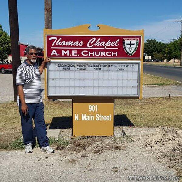 Church Sign for Thomas Chapel A. M. E. Church