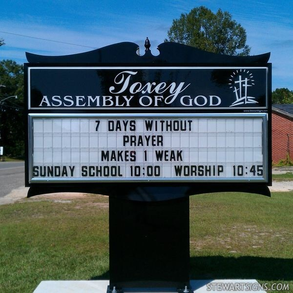 Church Sign for Toxey Assembly Of God