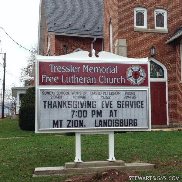 Church Sign for Tressler Memorial Free Lutheran Church
