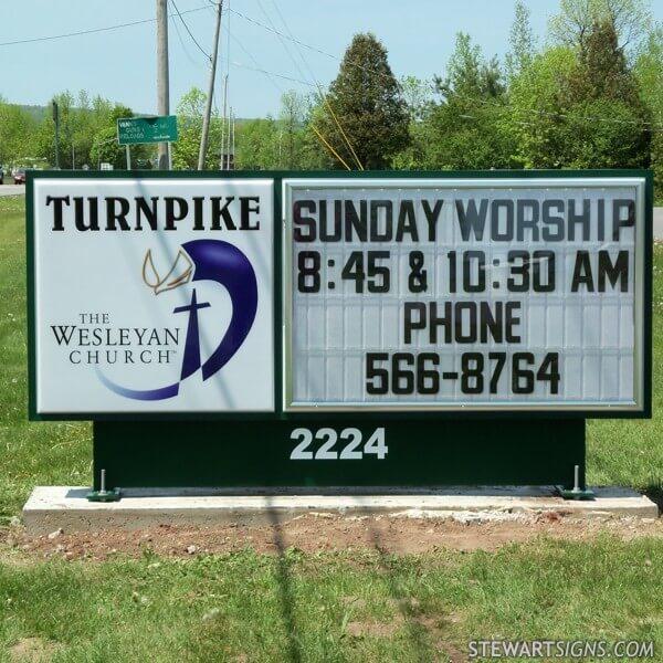 Church Sign for Turnpike Wesleyan Church