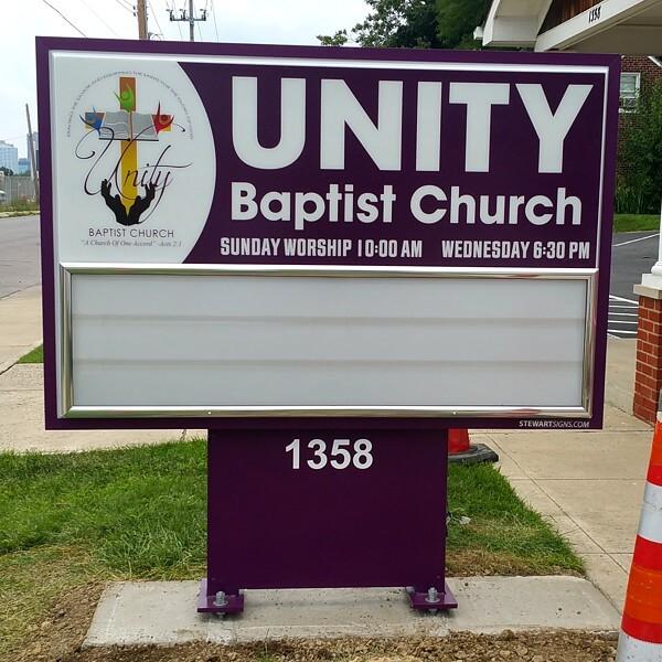 Church Sign for Unity Baptist Church Of Columbus