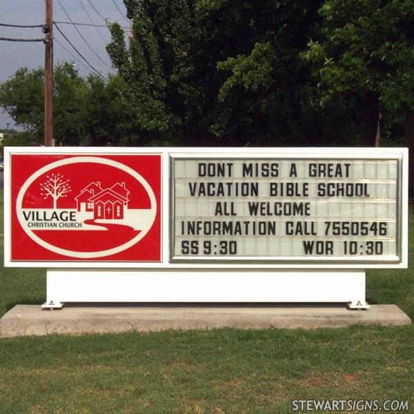 Church Sign for Village Christian Church