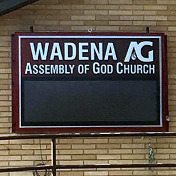 Church Sign for Wadena Assembly Of God Church