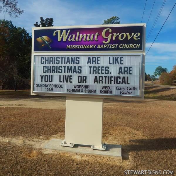 Church Sign for Walnut Grove Missionary Baptist Church
