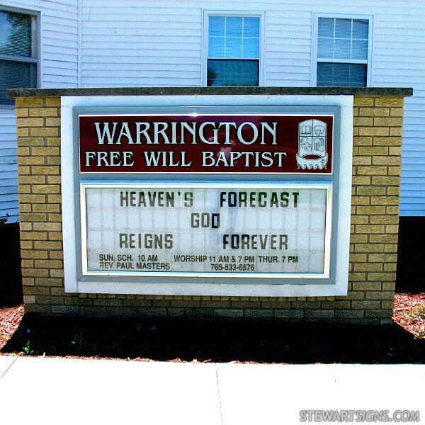 Church Sign for Warrington Freewill Baptist Church