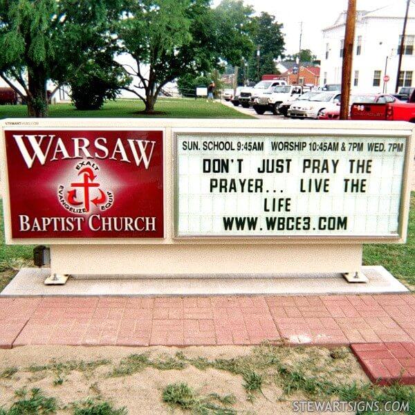 Church Sign for Warsaw Baptist Church