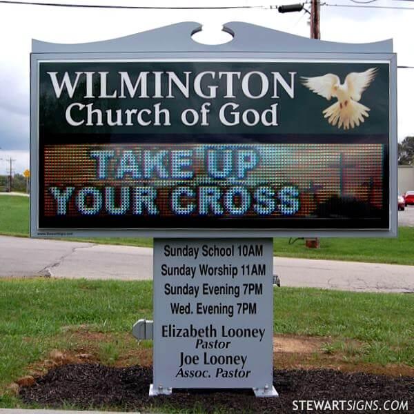 Church Sign for Wilmington Church Of God