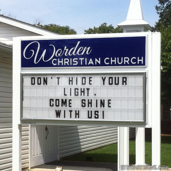 Church Sign for Worden Christian Church