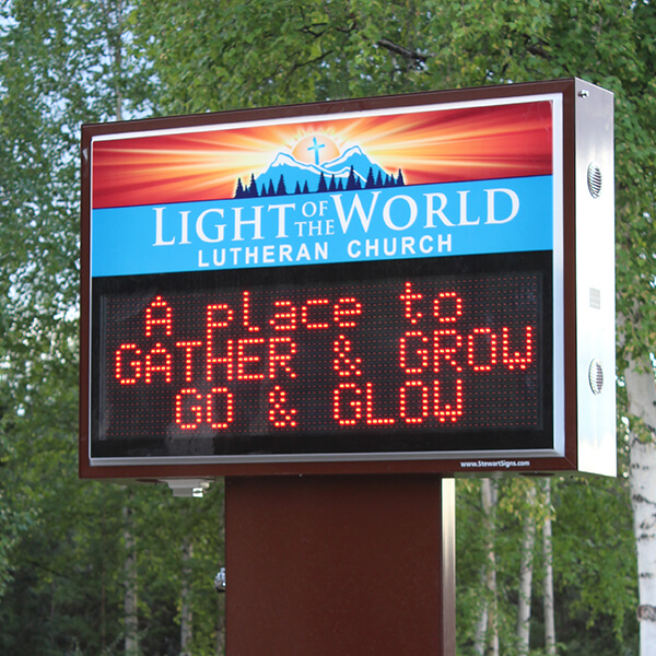 Church Sign for Light Of The World Lutheran Church