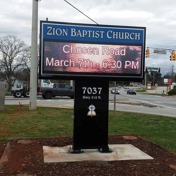Church Sign for Zion Baptist Church